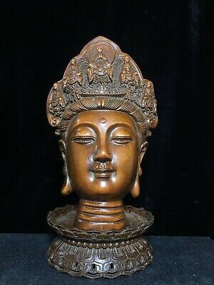 Collectable China Antique Boxwood Hand-Carved Buddhism Kwan-Yin Exorcism Statue