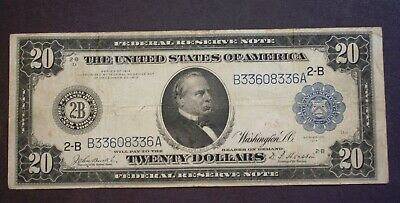 Series 1914 $20 Federal Reserve Note, 2B, New York, Cleveland, Blue Seal