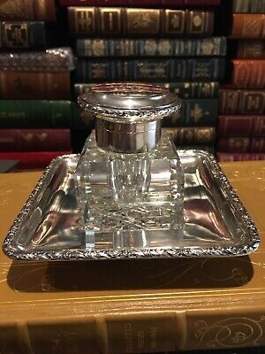 ANTIQUE CUT GLASS INKWELL with STERLING LID: HARVARD BOTTOM: SILVER TRAY