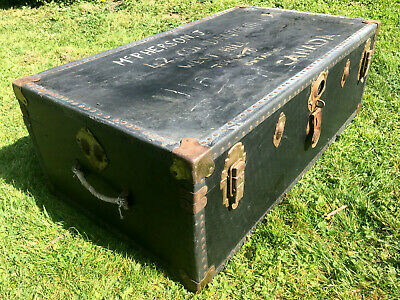 Large Vintage Travel Steamer Trunk Chest Blanket Box Toy Coffee Table 40s 50s