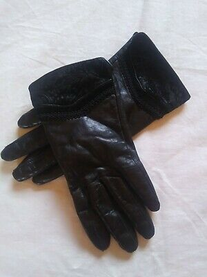 Women's Wilson's Black Leather Driving Gloves Brocade Accents Size Sm