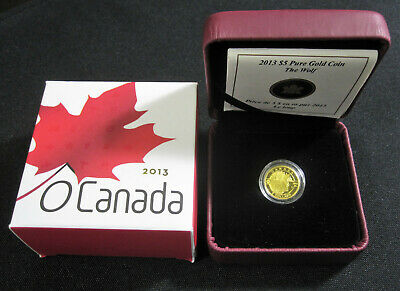 2013 Gold 'Wolf - O Canada' Proof $5 Gold Coin .9999 Fine