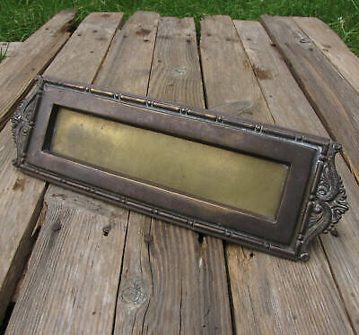 Vintage Large Rare Brass Letter Box Plate Door Mail Slot WORKING SPRING