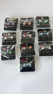Paparazzi Starlet Shimmer Set of 10 Assorted  Color Flower Earrings