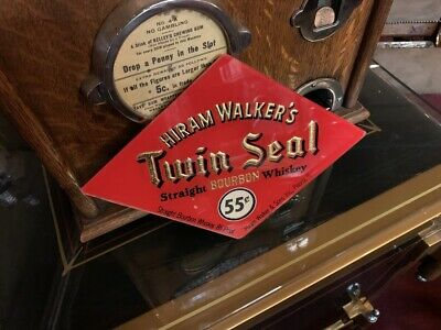 """1950's HIRAM WALKER Reverse Glass Sign with Changing Price Wheel  """"Watch Video"""""""