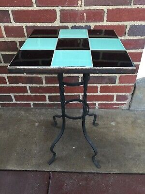 """Vtg Mid Century Wrought Iron Tile Top Table California Style Plant Stand 13""""x21"""""""