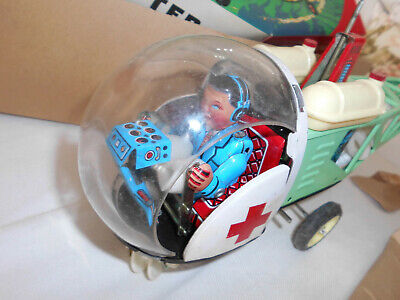 Vintage Giant Tin Wind-Up BELL 47 Helicopter HUBSCHRAUBER MS 706 in BOX  N E U !