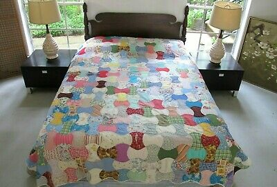 """FOR RESTORATION: Vintage Feed Sack Hand Sewn DOUBLE AXE HEAD Quilt; 90"""" x 82"""""""