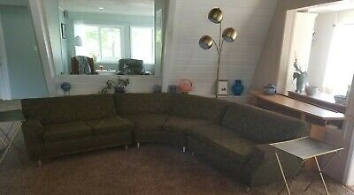 Mid-century Modern Couch 3-piece Sectional Green Low Profile Couch ONLY