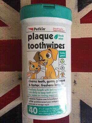 """Petkin Plaque Toothwipes 40 5""""x5"""" Wipes For Dogs & Cats , Fresh Mint"""
