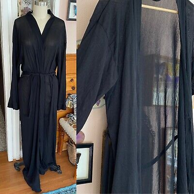 Victorias Secret Mesh Robe Sz M L black nylon maxi long