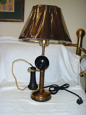 Vintage Candlestick Antique Telephone Lamp with 1901 patent marking- solid brass