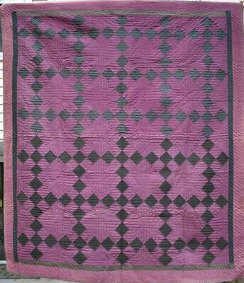 """Antique Wool Amish """"Nine Patch Chain"""" Quilt, Burgundy and Black,  #18091"""