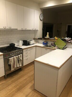 Used white kitchen cabinets, cupboards, pantry, sink, rangehood wooden benchtop