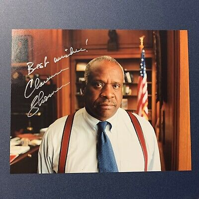 CLARENCE THOMAS HAND SIGNED 8x10 PHOTO SUPREME COURT JUSTICE VERY RARE COA