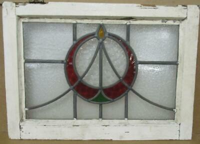 OLD ENGLISH LEADED STAINED GLASS WINDOW Circle & Sweep Design 22' x 15.75""