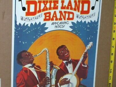 DIXIELAND BAND Shows Two Musicians -SAXOPHONE & BANJO - OLD DIXIE SIGN Dated '93