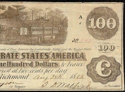 1862 $100 Dollar Confederate States Currency Civil War Note Old Paper Money T-40