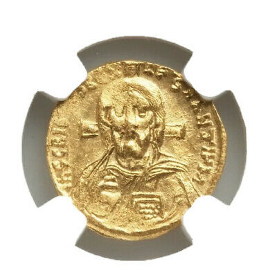 Justinian II, first reign (AD 685-695). AV solidus (19mm, 4.49 gm, 7h). NGC MS