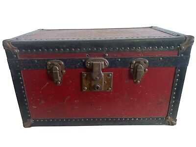 Antique miniature small wood doll child's trunk metal & leather embellishments