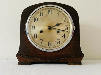 Vintage Enfield Art Deco Wooden Westminster Chiming Winding Mantle Clock - VGC