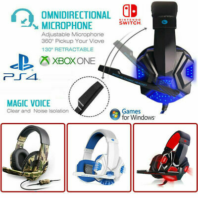 ☊ 3.5mm Gaming Headset Mic LED Headphones Stereo Surround for PC PS4 Xbox ONE ♪
