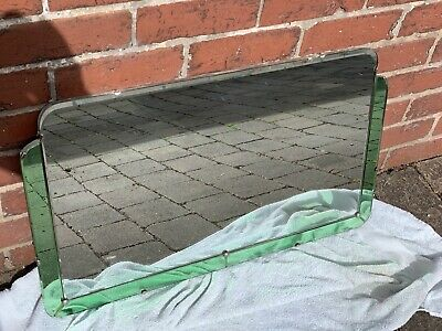 Art Deco Frameless Clear & Green Wall Mirror Free Delivery