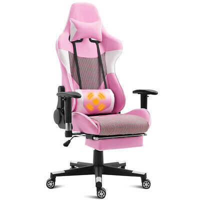 Massage Gaming Chair Recliner Racing Chair w/  Lumbar Support & Footrest Pink