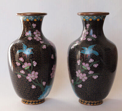 A Pair of Vintage Chinese Jingfa Cloisonne Cherry Blossoms Black Gold Vases