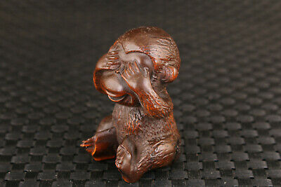 chinese old boxwood hand carving monkey statue collectable Table deco