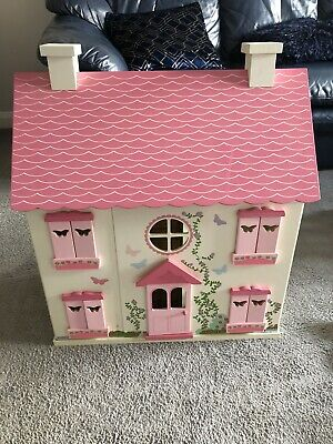 Asda George Large Wooden Dolls House with 2 Figures + Furniture Set