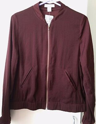 Womens Brand New with tags H&M Burgundy Bomber Jacket Size 14