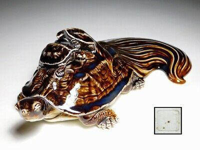 SIGNED Minogame Turtles Okimono Porcelain Statue Japanese Original Antique Meiji