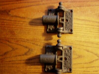 ANTIQUE MATCHED PAIR  VICTORIAN CAST IRON SPRING LOADED DOOR HINGE,large ball