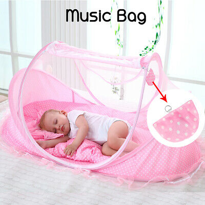 Portable Folding Infant Newborn Baby Travel Anti-Mosquito Cradle Bed Tent Pillow