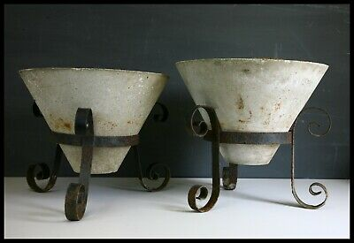 2 x conical garden pots planters & stands concrete used vintage