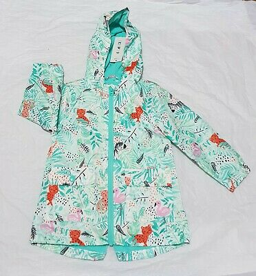 New Girls Shower Resistant Jungle Themed Rain Coat by George (3-4 Years)