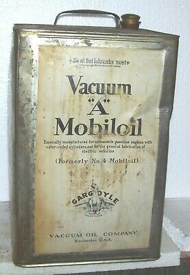 VARY RARE early 1908 ? front Facing   gargoyle vacuum oil Mobiloil 5 gallon can