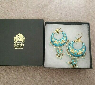 Nomads Bright Blue Lacquer Indian Style Earrings
