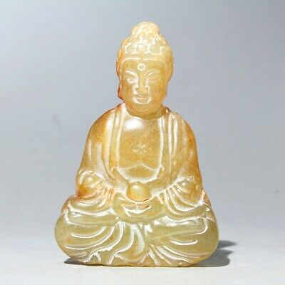 Collectable China Old Jade Handwork Carve Buddha Auspicious Delicate Fun Pendant