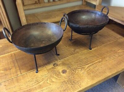 Two Antique Indian Cast Iron Kadai On Stand Planter Small Fire Pit Free Delivery