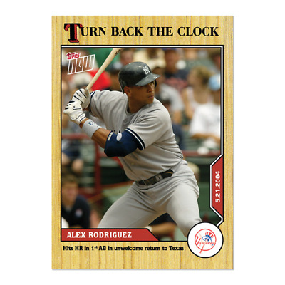 2020 MLB TOPPS NOW Turn Back The Clock Alex Rodriguez Card 52