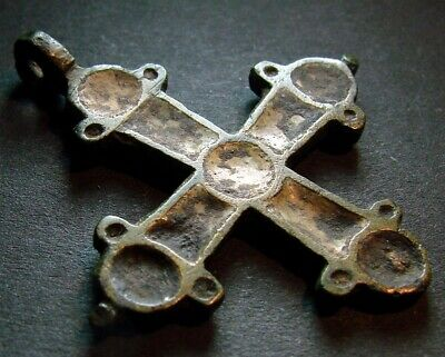 VERY ANCIENT BRONZE CROSS WITH ENAMEL. KIEVAN RUS 11 - 13 CENTURY 40 mm. (R.088)