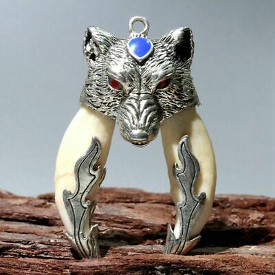 Collectable China Miao Silver Cloisonne Carve Delicate Wolf Head Unique Pendant