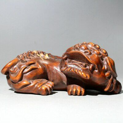 Collectable China Old Boxwood Hand-Carved Auspicious Ancient Lion Unique Statue