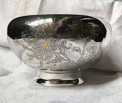 Antique Japanese Solid Silver Bowl Gold Inlay  Jungin Mark- Stunning