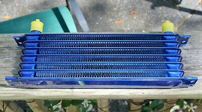 Universal Motorcycle Oil Cooler Radiator Alloy Blue ~ NOS