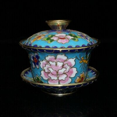 Chinese Collectable Old Cloisonne Handwork Carve Delicate Flowers Royal Tea Cup