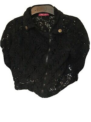 Little Girls Black Lacy Jacket Top By Young Dimension Aged 7-8 Years 128Cm Zip