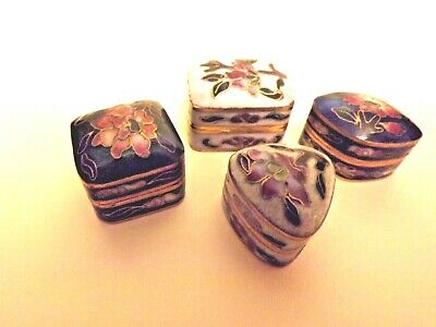 4 SMALL CLOISONNE BOXES. White, Ivory, Blue, and Green.
